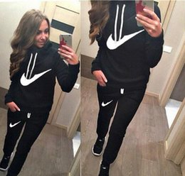 Wholesale Girls Printed Dress - 2016 Women Athletic Wear Set Casual Hooded Hat Pullover Suit Suit-dress Hoodies Sportwear Woman Womens Girl Printed Top Print Sports