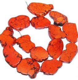 Wholesale Wholesale Howlite - one piece Loose Beads 20-35mm Orange Turquoise Slice Stone 40cm 16inch Howlite