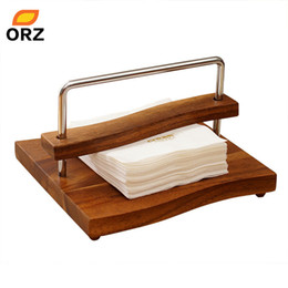 Wholesale hotel tissue - Wholesale- Napkin Paper Holder Wood Craft Square Table Tissue Box Paper Rack For Hotel Restauant Party Wedding Kitchen Storage Rack