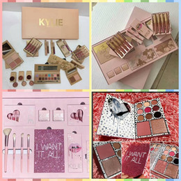 Wholesale Makeup Gift Sets Wholesale - Kylie Jenner I WANT IT ALL The Birthday Collection Makeup Set Eyeshadow Palette Charming Lip Gloss August Bug Kylie Collection Set gift