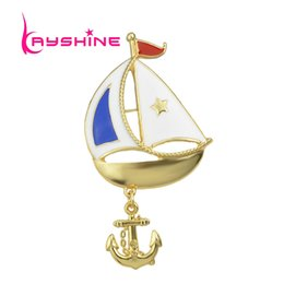 Wholesale Enamel Anchor Jewelry - New Sea Wind Style Blue White Enamel with Anchor Gold Color Boat Brooch for Women Fashion Jewelry