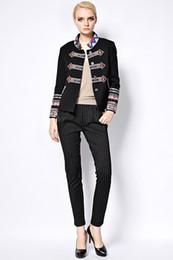 Wholesale Women S Punk Winter Coats - Punk Jacket 2016 Autumn-Winter New Fashion Coat Full Sleeve Geometric Flower Embroidery Turtleneck Black Brand Jacket Women