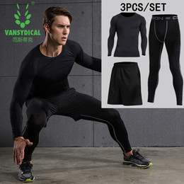 Wholesale Green Leggings For Men - New Mens Compression Set Long Sleeve Running Suit Fitness Clothing for Gym Compression T-shirt+Tights Leggings Pants Running sets