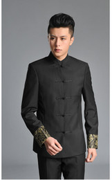 Wholesale Garment Young - Fashion slim multicolor retore stand-up collar Costume young Men traditional Chinese Garments clothing China wind ephebe groomsman weddin