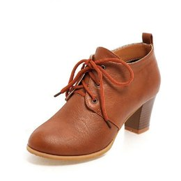 Wholesale Oxford Boots For Women - Wholesale- New Women's Thick Heel Ankle Boots Round Toe Lace Up Oxfords Boot For Women Shoes High Heel BIG SIZE 35-43 Zapatos Mujer
