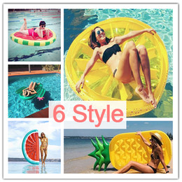Wholesale Inflatable Boards - 180CM Inflatable Pineapple Half Watermelon Lemon Cactus Pool Float Island Swimming Ring Board Water Giant Toys Raft Bed Leisure Air Mattress