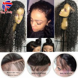 Wholesale Cheap Blonde Curly Lace Fronts - hot selling loose curly Sythetic Lace Front Wig Cheap Brazilian hair Full Lace Front Wigs Long Synthetic Lace Front Wigs With Baby Hair