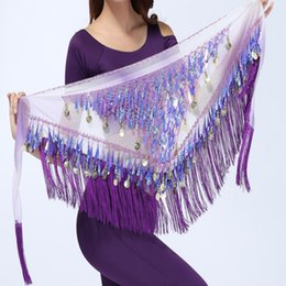 Wholesale Lace Ruffle Scarf - 2017 Chiffon Coins Tassels Sequins Triangle Hip Scarf Skirt Belly Dance Costume