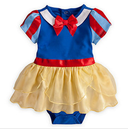 Wholesale Snow White Romper - New Baby Girls Romper Summer Princss Bow Stripe Tulle Infant Jumpsuit Cute Snow White Toddler Onesie Fashion Kids Bodysuit C1490