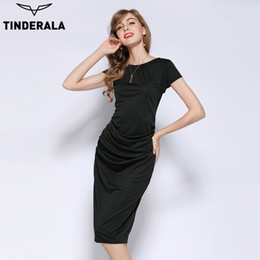 Wholesale Women Dresses Work Color - TINDERALA 2017 women summer dress solid color elegant short sleeve knee length bodycon pencil dress work wear office dresses