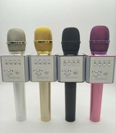 Wholesale Microfone Usb - Professional Karaoke Recording Microphones Q9 Bluetooth Wireless Karaoke Condenser USB Mic Microfone For Mobile Podcast KTV Livestream