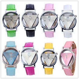 Wholesale Watch Skeleton Woman Wrist - Relogio feminino skeleton Triangle watch women Delicate transparent hollow leather strap wrist watch quartz dress watch VARIOUS CAndy colors