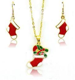 Conjuntos de pratos de natal on-line-Conjuntos de Jóias DHL Moda Vermelho Meias de Natal Banhado A Ouro Brincos Conjuntos de Colar Brincos Decoração de Natal Jóias Presente de Natal