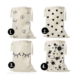 Wholesale Toy Bear Patterns - Heart Bear eyelash Pattern Laundry Bag Pouch,Canvas Storage Bag for Toys Clothing,Baby Kids Toys Storage Bag Cute Wall Pocket