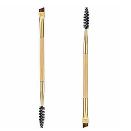 Wholesale Double Combs - Wholesale Hot hothot 1PCS Makeup Bamboo Handle Double Eyebrow Brush + Eyebrow Comb Synthetic Fibre Hair at9