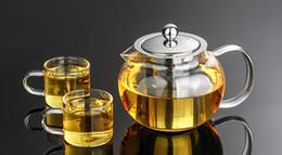 Wholesale Kettle Sets - 1SET Heat Resistant Glass Tea Pot Flower Tea Set Puer kettle Coffee Teapot With Infuser 1PC 650ML teapot+2pcs Cup J1032-1