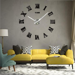 Wholesale Wall Clocks Roman Numerals - Living Room DIY large quartz Acrylic mirror wall clock 3D Roman numerals design and Fashion Art Home Decor wall stickers clocks