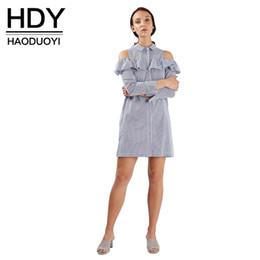 Wholesale Long Sleeve Strip Dress - Cold Shoulder Shirt Style Ruffle Dress Summer Strip Long Sleeve A-line Dress Streetwear Casual Femal Mini Dress 17408