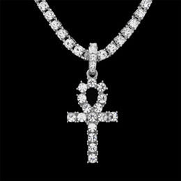 Wholesale 18k White Gold Filled Cross - Hip Hop Gold Silver Ankh Egyptian Jewelry Alloy Pendant Bling Rhinestone Crystal Key To Life Egypt Cross Necklace Chain