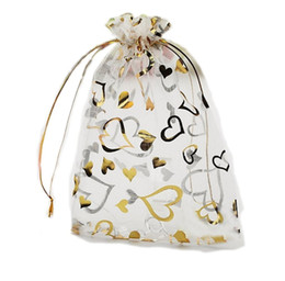 Wholesale Gold Drawstring Organza Bag - 100 Pcs Organza Jewelry Pouch Bags White with Gold Heart 9X12cm ( 3.5 x 4.7 inch) Drawstring Organza for Candy Beads Packing