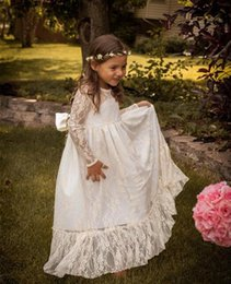 Wholesale Lace Cupcake Lines - White Lovely Vintage Lace Flower Girls Dresses For Wedding Gowns A Line Crew Long Sleeves Princess Muslim Girls Cupcake Pageant Dresses