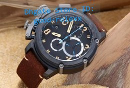 Wholesale Swiss Style Watches - 2 Style Top AAA Men's Black Pvd Chronograph Big Watch Mens Swiss Quartz Calf Leather Calendar Watches Men Sports Chrono Dive Stopwatch
