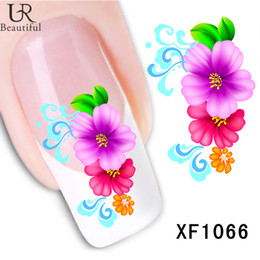 Wholesale Nail Art Foil Sheets - 1 sheet Water Transfer Nails Sticker Colorful Flowers Leaf Design Nail Art Foil Polish Decal Wraps Manicure Nail Tools #XF1066