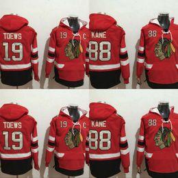 Magliette felpate a buon mercato online-Mens Chicago Blackhawks Felpe con cappuccio Jersey 19 Jonathan Toews 88 Patrick Kane 100% ricamo cucito Loghi Felpe Pullover Hockey Cheap Rosso