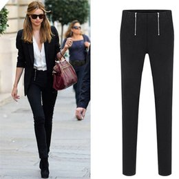 Wholesale Sexy Lingerie Trouser - New Sexy Women Double Zipper Open Tights Black White Pencil Pants Casual trousers Erotic Lingerie Club Wear FX1018