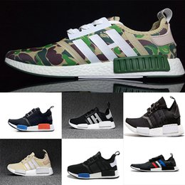 Wholesale Winter Hunting Camouflage - 2017 New style NMD Runner R1 men women Primeknit Camo Army Green Boost Fashion Running Shoes Camouflage Casual Boosts high quality EUR 36-44