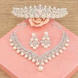 Wholesale Three Crowns Earrings - bride hair accessory three pieces set wedding accessories hair accessory necklace earrings marriage accessories Tiara Crowns Bridal Jewelry