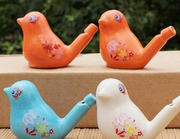 Wholesale Bird Drop - Wholesale Glazed Ceramic Bird whistle Cardinal Vintage Style Water Warbler musical instruments & Toy 100 pcs lot drop shipping
