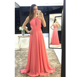 Wholesale Sexy Sophisticated Prom Dresses - Hot Coral A Line Chiffon Evening Dress Sophisticated Cut Backless Long Prom Dresses Special Guest Dresses