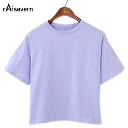 Wholesale Solid Colored Shirts - Wholesale- Raisevern New Women Cotton T shirt Summer Style Candy-colored Tee Tops Cropped Feminino T-shirts Casual Loose Tops Shirts