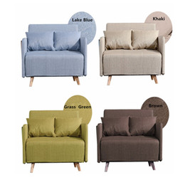 Wholesale Folding Lounge - High Quality Metal Soft Folding Sofa Bed Casual Home Lounger Sofa Bed with Steel Frame Linen Cover Quality Rebound Foam Armrests F01D2