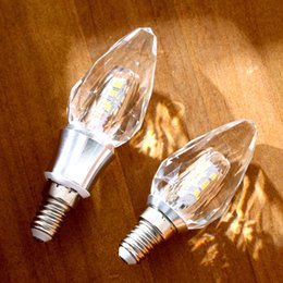 base de la luz cristalina al por mayor Rebajas Al por mayor-LED bombilla de luz de cristal 5w 7W C35 vidrio blanco caliente 220V E14 Base cálida blanca 3000K para la decoración de la sala de estar