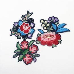 Wholesale Children Iron Sew Patches - Different Shape Flower Patches Iron-on Sew-on Red Rose Flower Embroidery Patch Motif Applique Children Women DIY Clothes Sticker Wedding