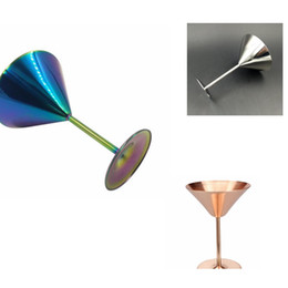 Wholesale Colored Glass Cups - Colored Glass Goblet Creative Crafts Champagne Stainless Steel Cup And Wine Goblets Decoration Glass Cups Goblet Cocktail cup KKA1874