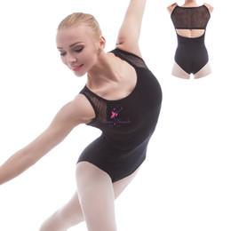 Wholesale Ballet Practice Wear - Adult Ballet Dance Leotard Black Cotton and Mesh Dancing Leotards for Women Practice Body Wear 5 Sizes 01D0010