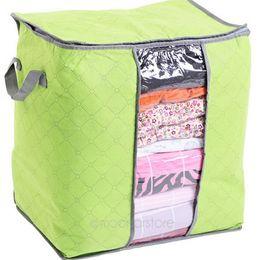 Wholesale Transparent Clothes Storage Bag - Foldable Clothes Pillow Blanket Closet Underbed Storage Bag Organizer Box Bags Transparent Window for Clothing Quilt