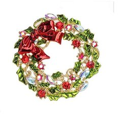 Wholesale Wholesale African Bags - Multicolored 2 Inch Gold Plated Multicolor Leaf Flower and Bow Wreath Brooch Christmas Gift for friends free shipping 12 pcs a bag