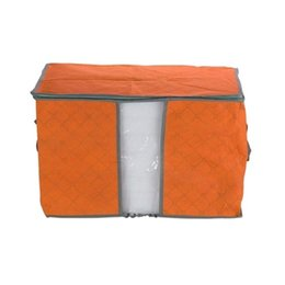 Stoccaggio dei contenitori di tessuti online-All'ingrosso- Trapunta arancione Coperta Cuscino sotto letto contenitore di immagazzinaggio Bag Box Container tessuto non tessuto