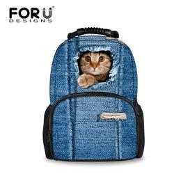 Wholesale Purple Ladies Jeans - Wholesale- 2016 Women Backpacks 3D Animal Jeans Kitty Cat Backpacks School Bagpack For Teenager Girls Ladies Travel Laptop Backpack Bags