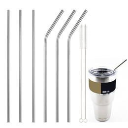 Wholesale Drinking Cups Straws - 25pcs Stainless Steel Straws Durable Reusable Metal 8.5inch-10.5inch Extra Long Drinking Straws for 20oz 30oz Yeti Tervis Tumbler Cups
