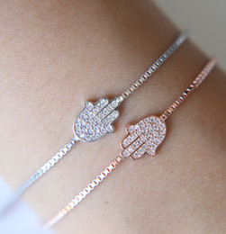 925 silver chains gift box Promo Codes - Lovely Original silver Jewelry 925 Sterling Silver Hamsa Women Bracelet Crystal Link Chain Friendship hand Brcaelet for Women Bijoux gift