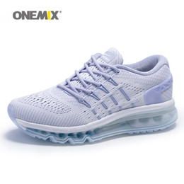 Wholesale Unique Basketball Shoes - ONEMIX Woman Running Shoes for Womens 2017 Air Cushion Shox Athletic Trainers White Sports Shoe Unique Shoe Tongue Outdoor Walking Sneakers