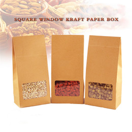 Wholesale Diy Candy Boxes - 5 pcs Height Adjustable Self-adhesive Diy Craft Box   Kraft Paper Box With Clear Window For Food Snacks Nuts Candy