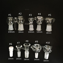 Wholesale Glasses Female - Thick Glass Bong Slides Bowl Piece dab rig female 18mm bowls pieces 14mm water pipes slide smoking pipes wax oil rigs heady funnel