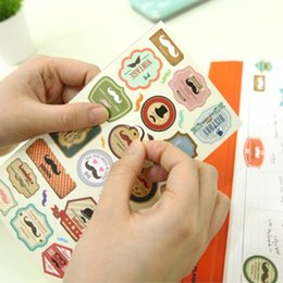 Wholesale Envelope Memo Pads - Wholesale- 4 Pcs Notebook Funny Mustache Photo Album Envelope Seal Scrapbook Paper Pvc Sticker Vintage Memo Pad Stationery Stickers