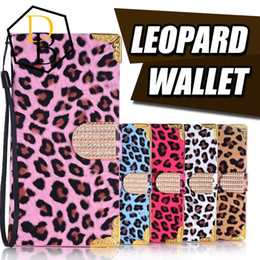 Wholesale Leopard Diamond Case Iphone - Leopard wallet pu leather cover case Iphone 5 6 7 plus card Luxury Bling Diamond Glitter Flip Leather Case